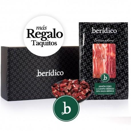 Set of 18 packs of sliced Cebo Campo 50% Iberian Ham from Extremadura (100gr.) + 80 gr.of minced BERÍDICO