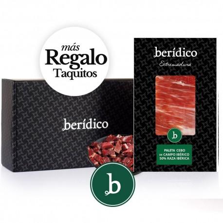 Set of 18 packs of sliced Cebo Campo 50% Iberian Shoulder from Extremadura (100gr.) + 80 gr.of minced BERÍDICO