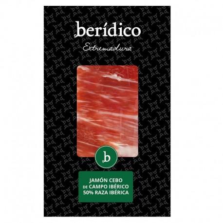 Traditionally-sliced Cebo Campo Iberian Ham from Extremadura 100g BERÍDICO
