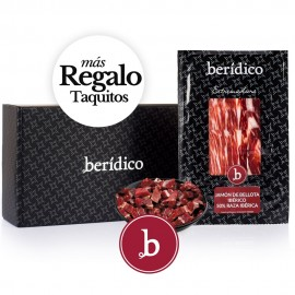 Set of 18 packs of sliced Acorn-fed Iberian Ham from Extremadura (100gr.) + 80 gr. of minced BERÍDICO